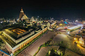 night view of Lord Jagannath temple is yet another important places to visit in Puri