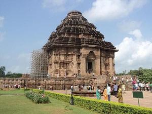 Tourists at Sun temple Konark - Odisha. A hotspot for tourists near Puri