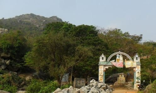 Entry gate of Panchalingeswar temple on a hillock which is a famous tourist destination in Balasore district