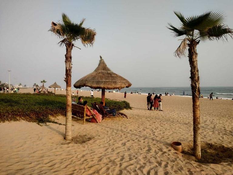 Tourists enjoying at Puri blue flag beach