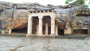 The entrance of Hathi Gumpha at the Khandagiri caves which is one of the popular tourist places in Bhubaneswar
