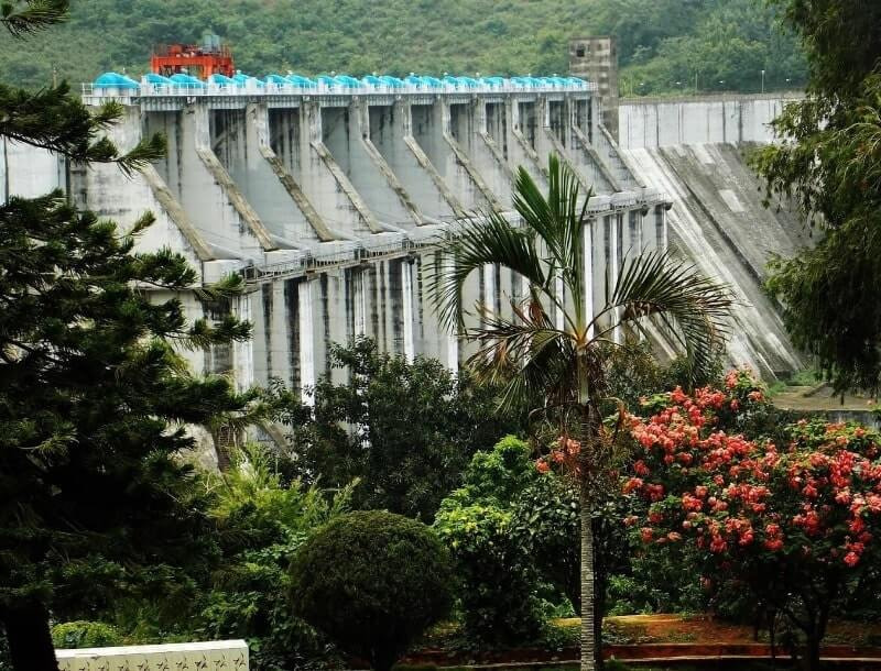 View from the botanical garden of water falling from the majestic dam is one of the famous Koraput tourist places