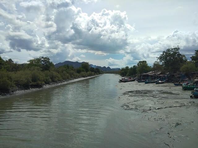 Subarnarekha river during low tide at Bichitrapur mangrove forests